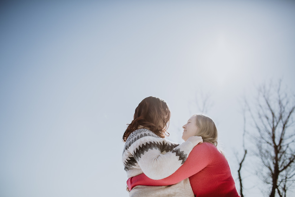 Sunny winter day engagement photos.