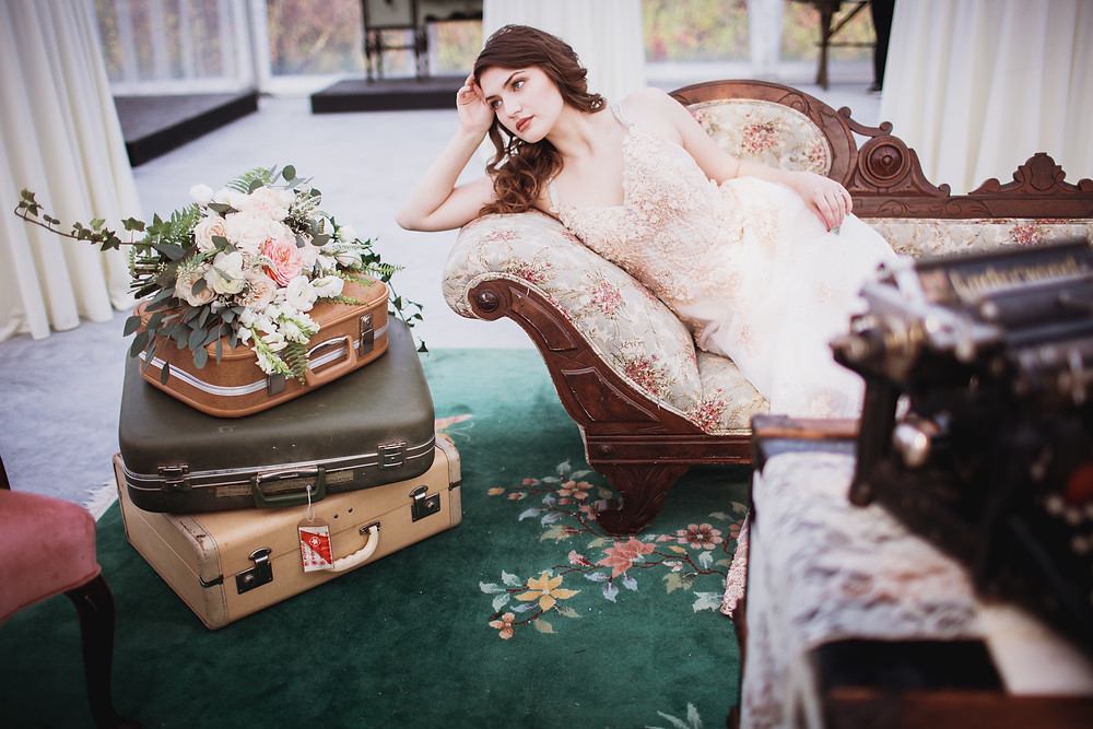Bride on vintage chaise lounge