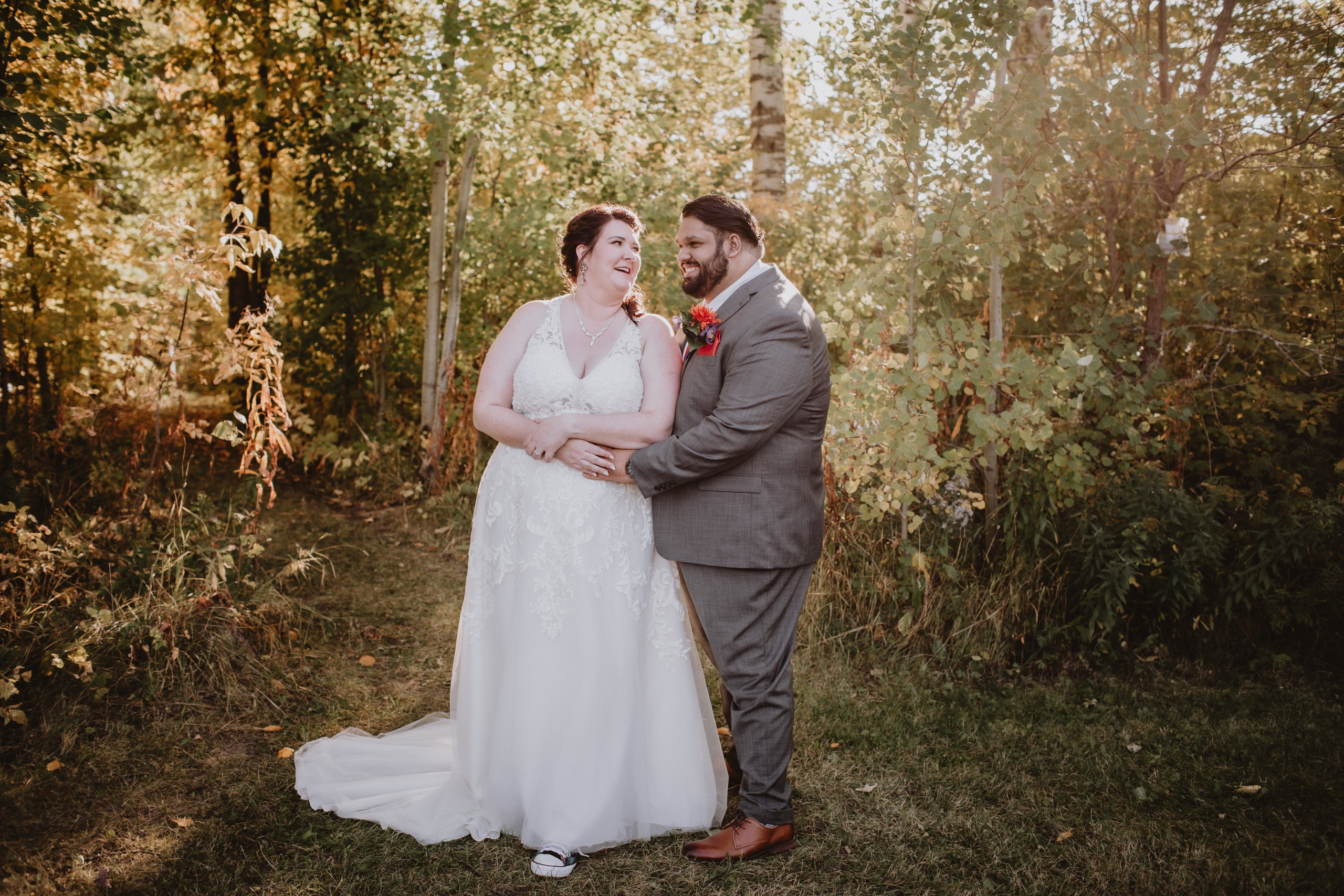 Golden Hour Wedding Portrait during fall wedding day.