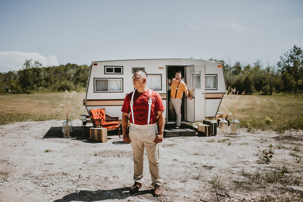 Elopement - grooms pose for first look for elopement styled wedding shoot.