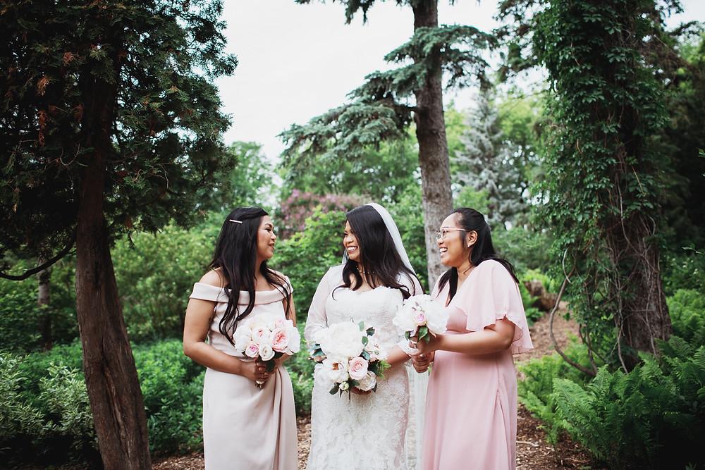 Bride celebrates with her bridesmaids in Winnipeg, Manitoba.