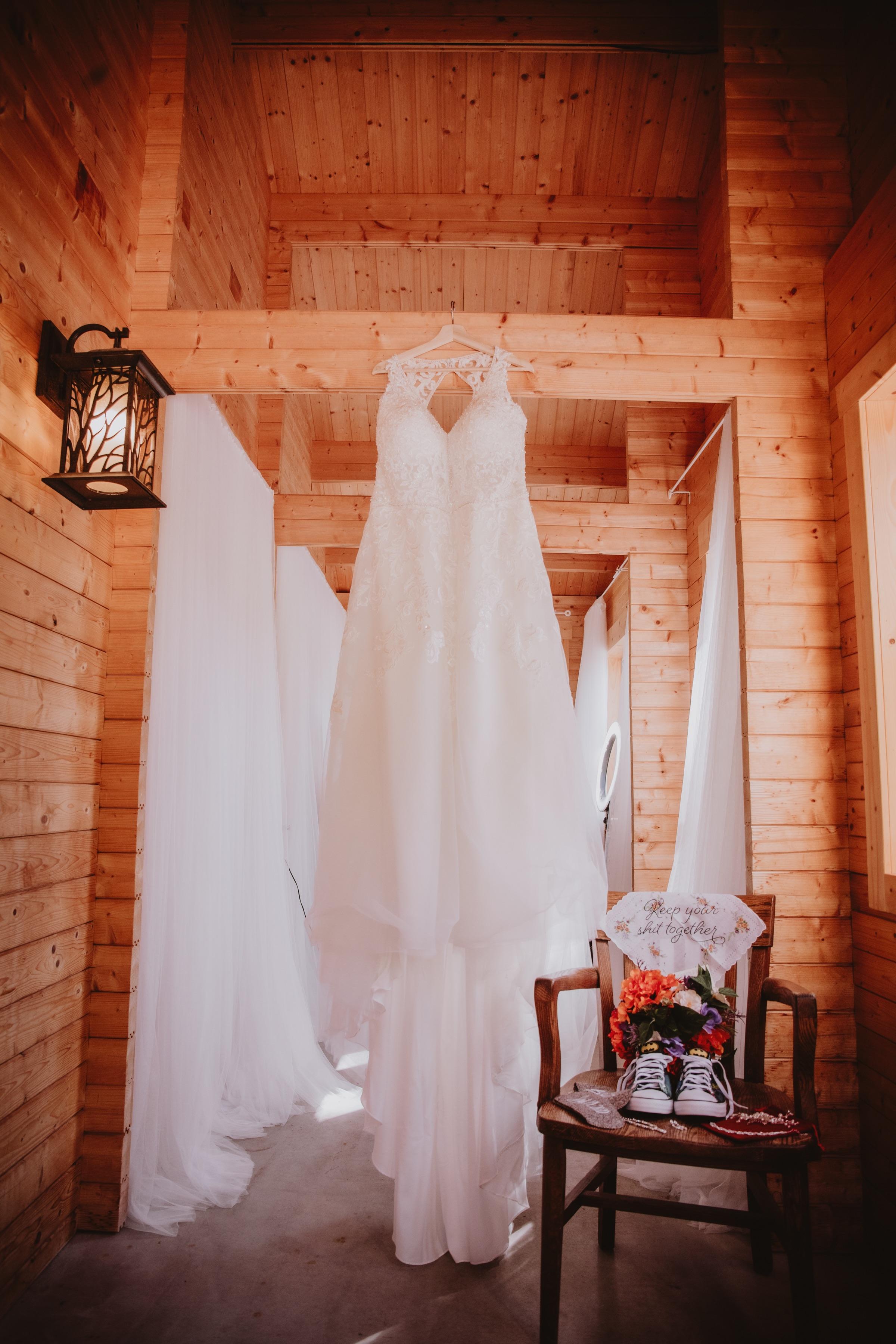 Wedding Gown at Rivers Edge Resort in Elma, Manitoba.