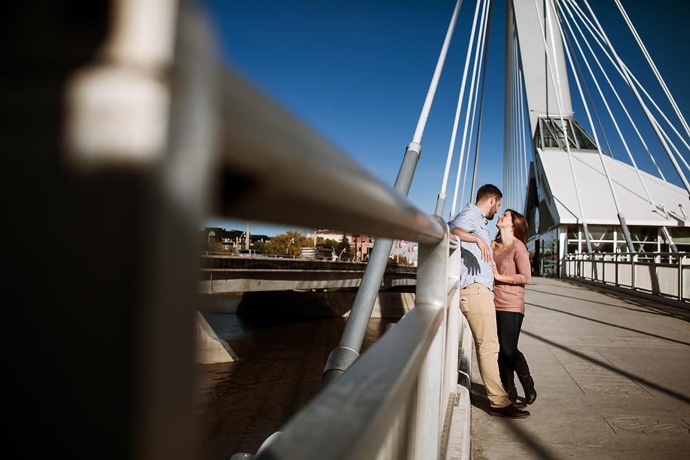 Provencher bridge engagement session in Winnipeg, MB.