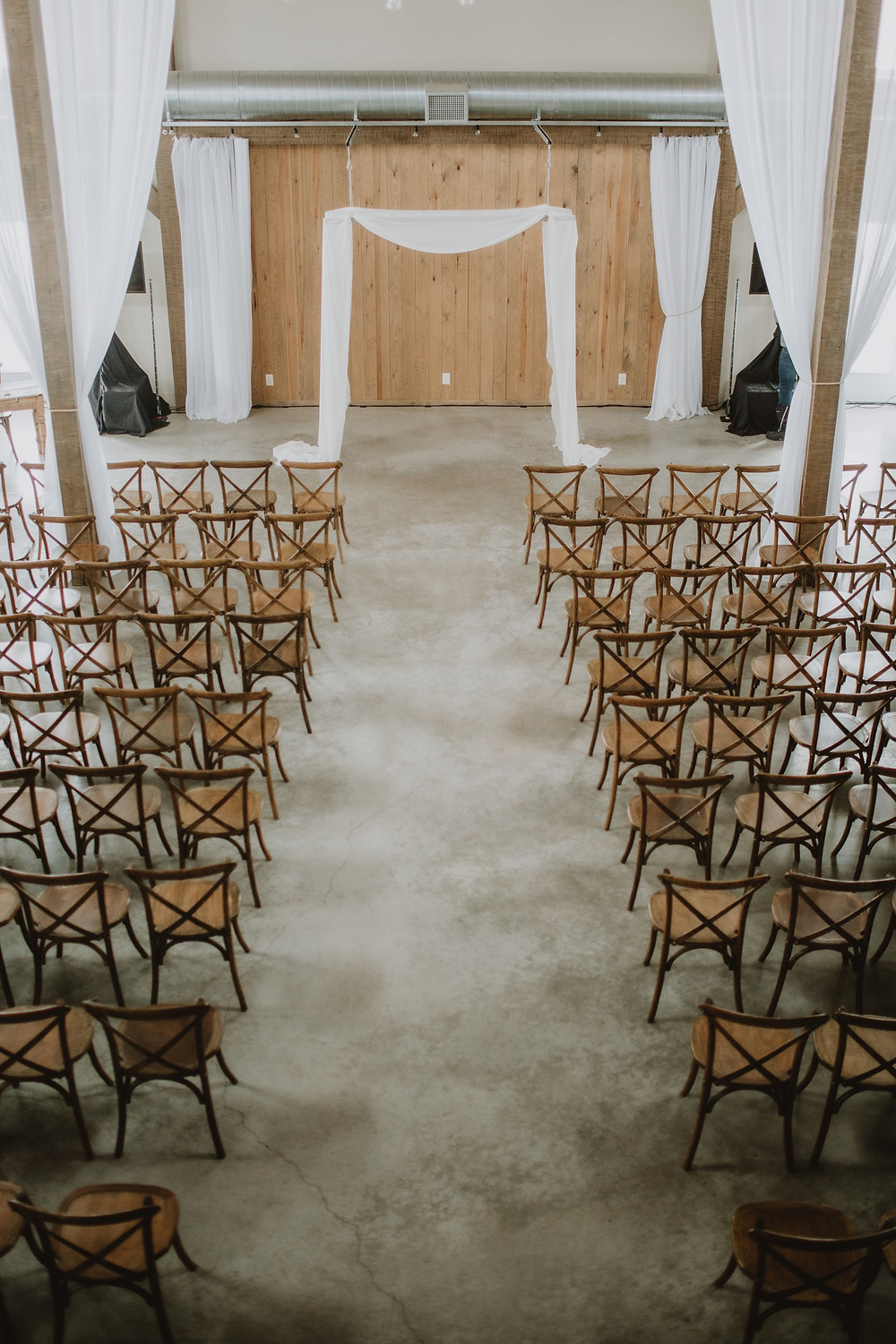 Overhead perspective of Hawthorn Estates wedding ceremony space.