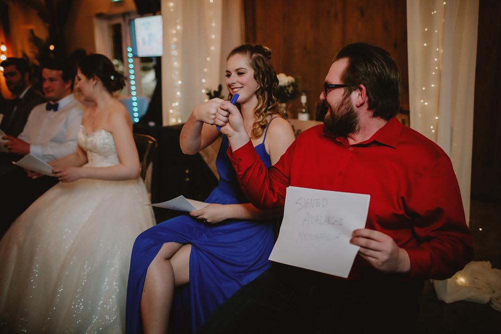 Newlywed game at wedding reception.