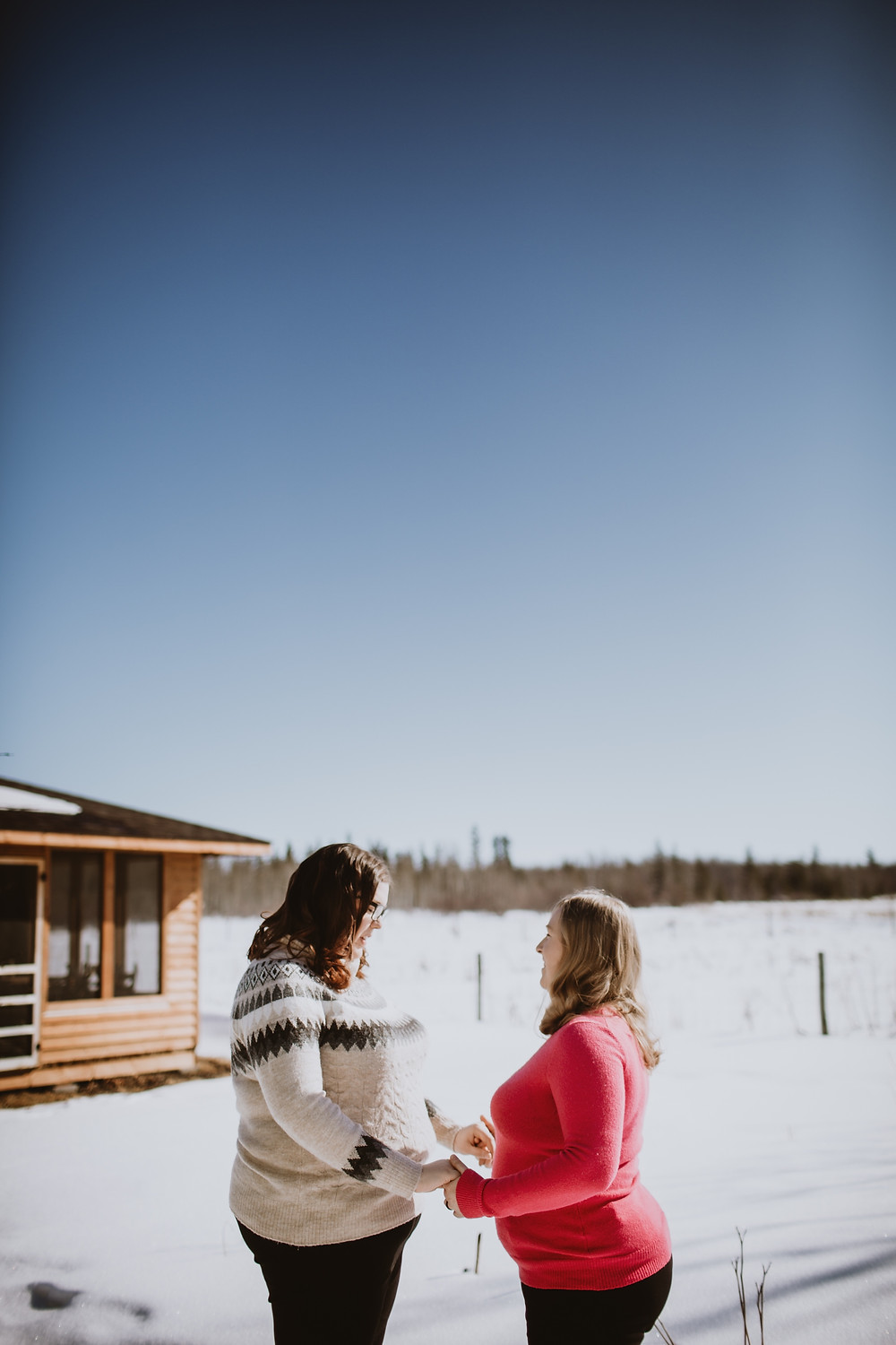 Winter engagement photo session in Gimli, Canada.