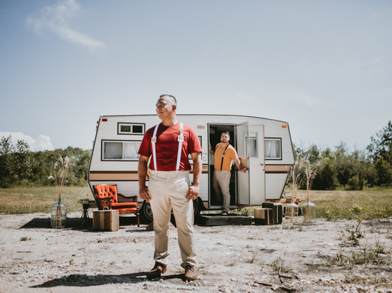 Same-sex Masc. 70s Glamping Styled Elopement