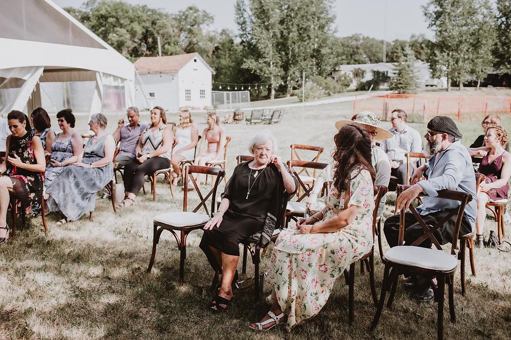 Intimate outdoor wedding ceremony.