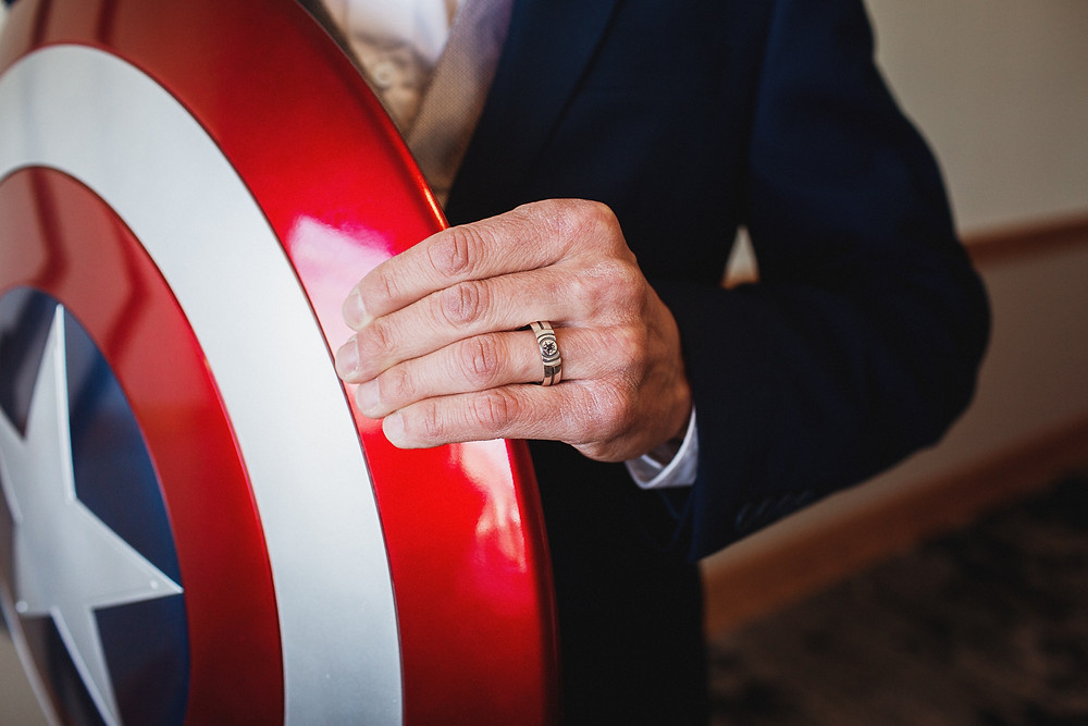 Captain America wedding band designed by Metal Wendler.