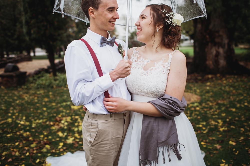 rainy fall wedding day.