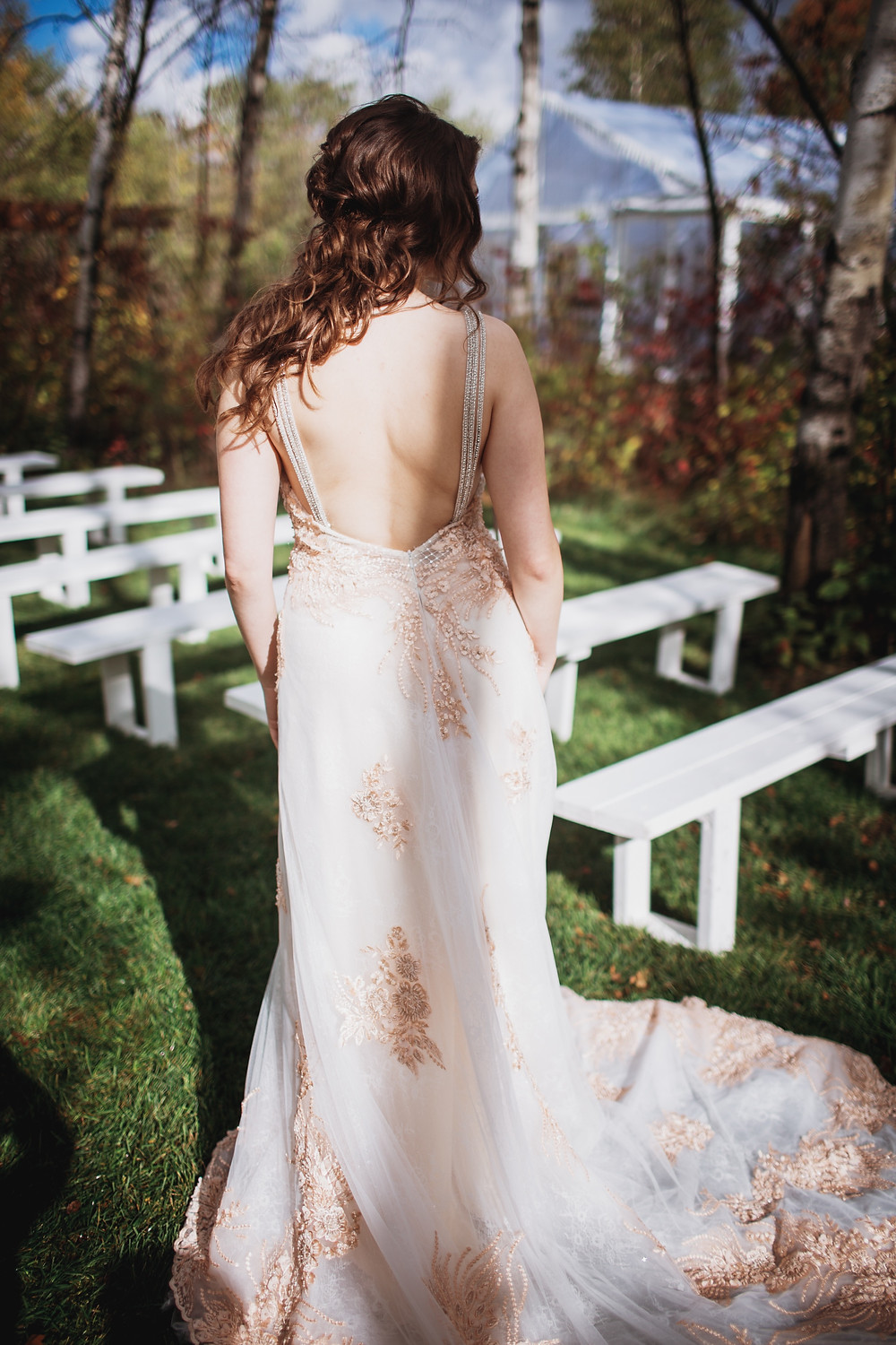 The back of Anna Lang's stunning bridal gown.