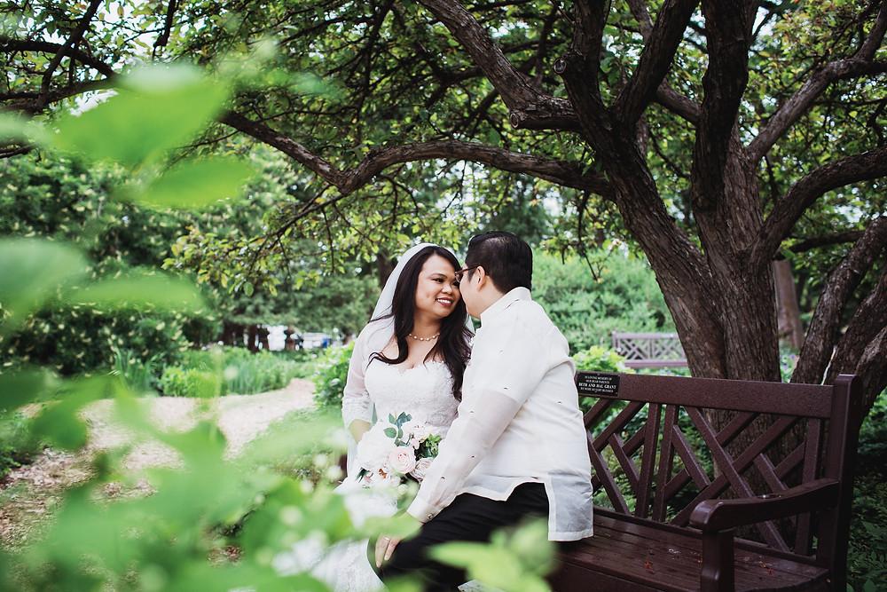 Wedding portraits in the English Gardens in Assiniboine Park, Winnipeg, Manitoba.