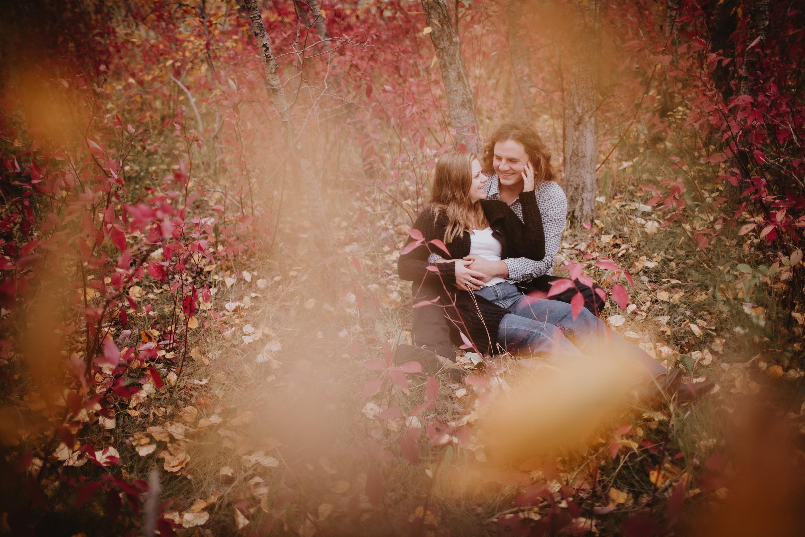 Beautiful Fall Foliage during engagement photoshoot.