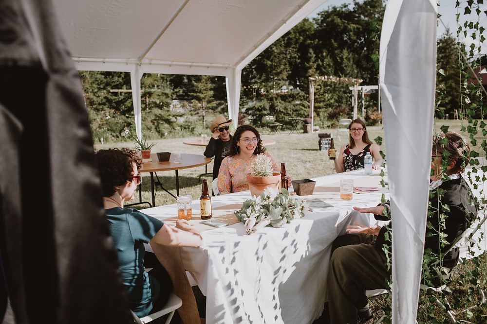 Casual, backyard wedding reception in Winnipeg.