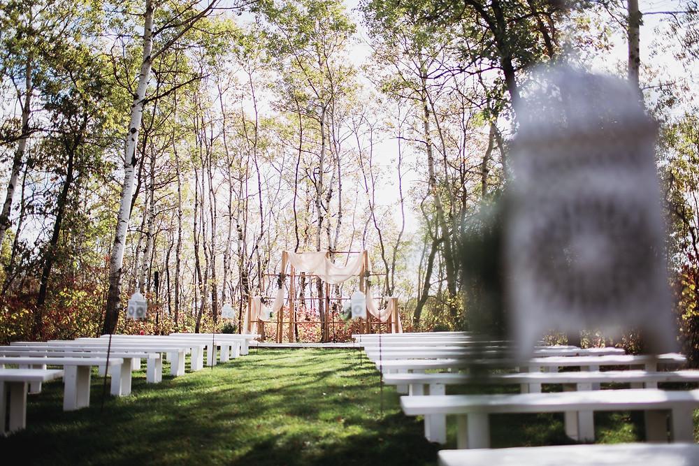 Outdoor wedding ceremony space in Manitoba.