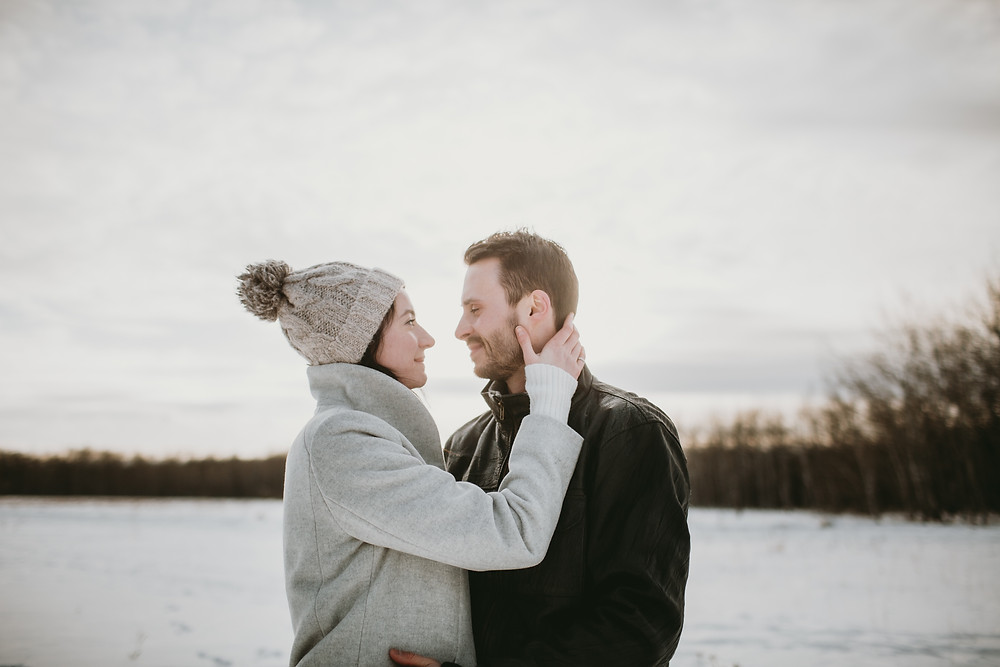 Prairie winter engagement photos.