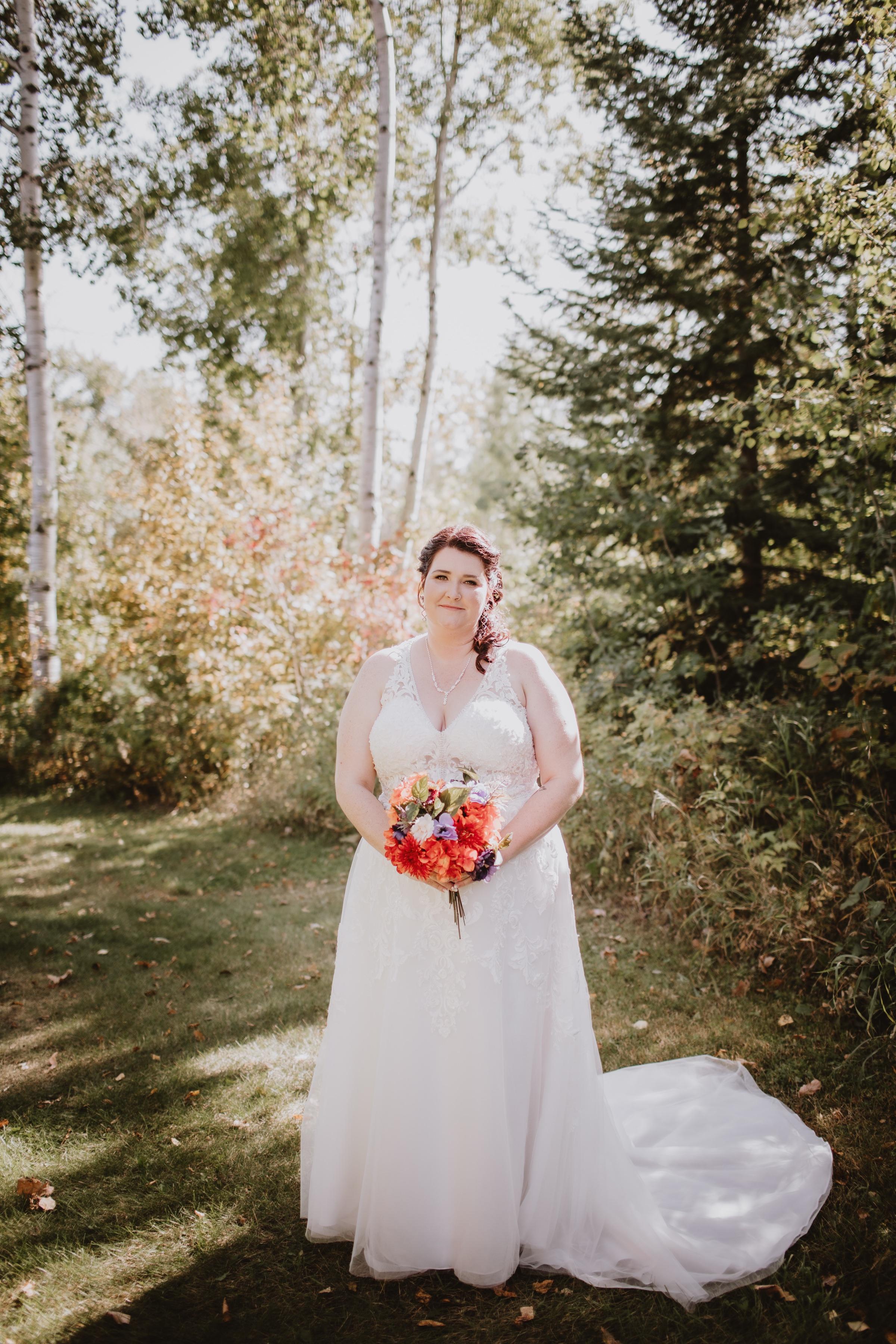 Fall Manitoba Bride at Rivers Edge Resort in Elma, Manitoba.