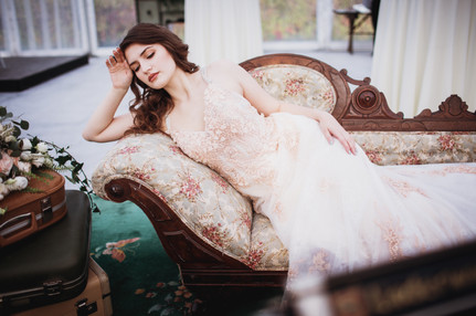 Bride Lounges on Vintage Chaise Lounge at Kinloch Grove