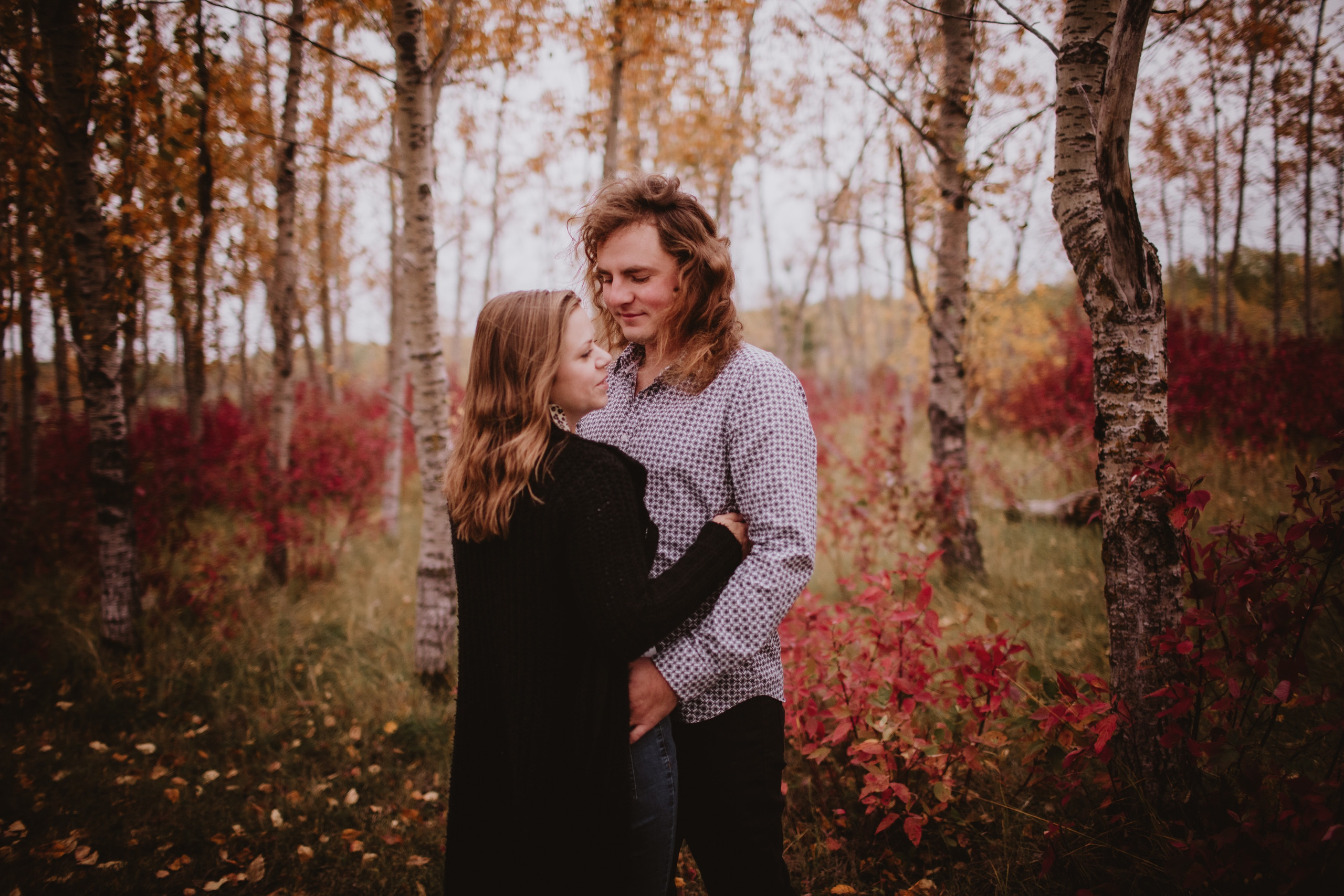 Windy Fall Engagement Photos