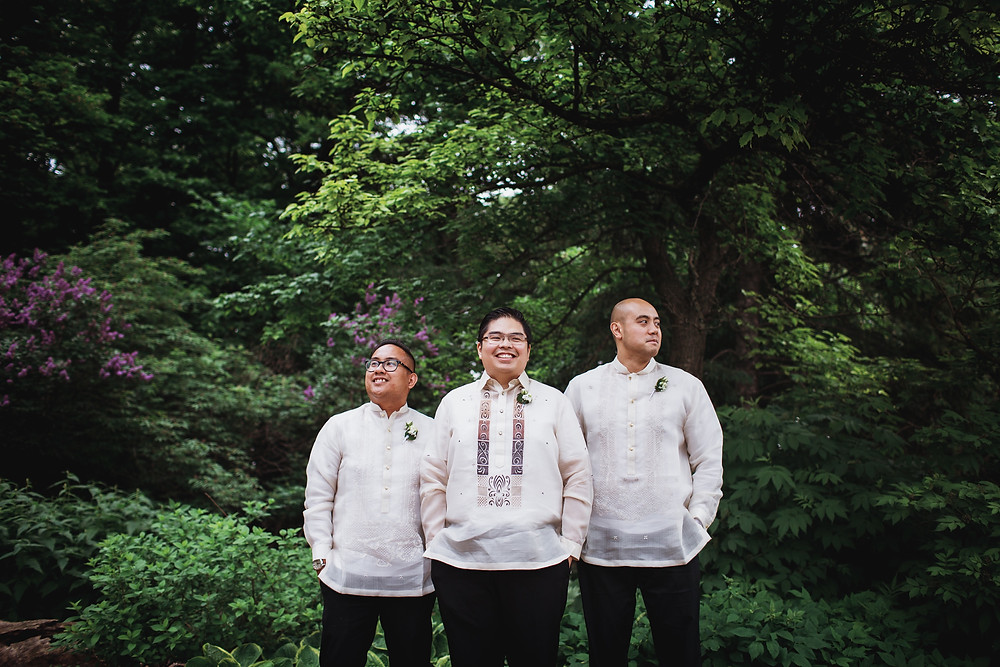 Groomsmen wearing barongs for Winnipeg, Filipino wedding in Assiniboine Park.