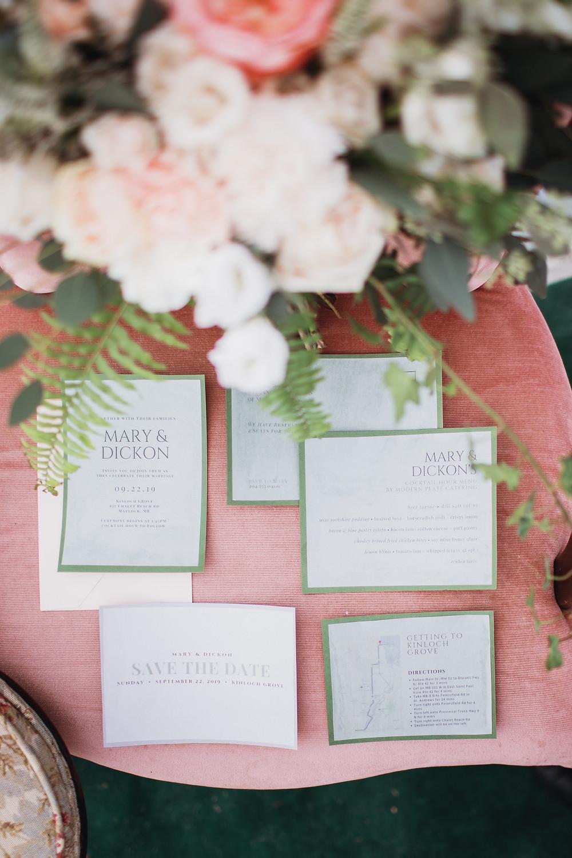 paper goods by Parasayo. Secret garden themed wedding.