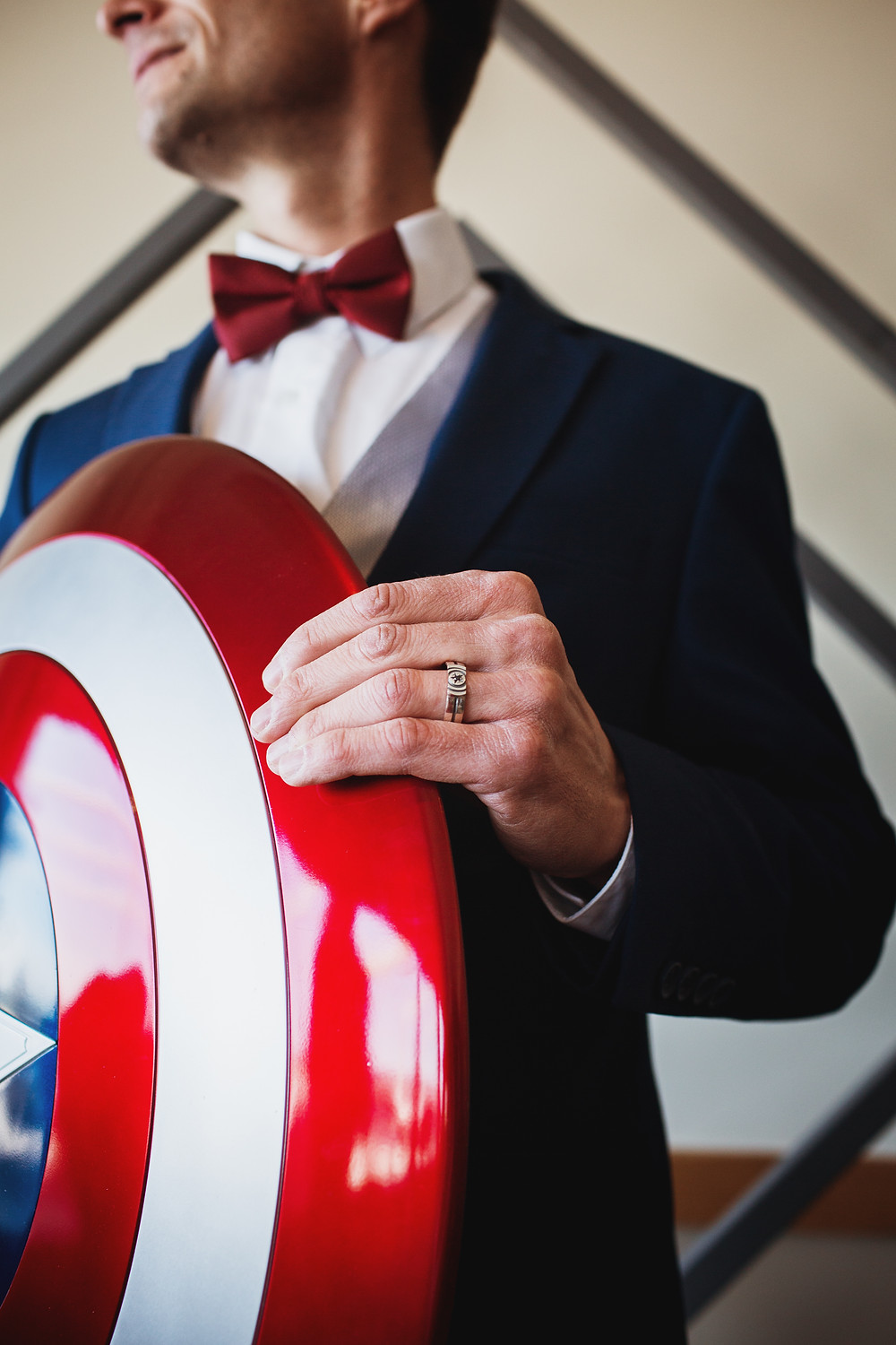 Wedding band inspired by Captain America created by Metal Wendler.