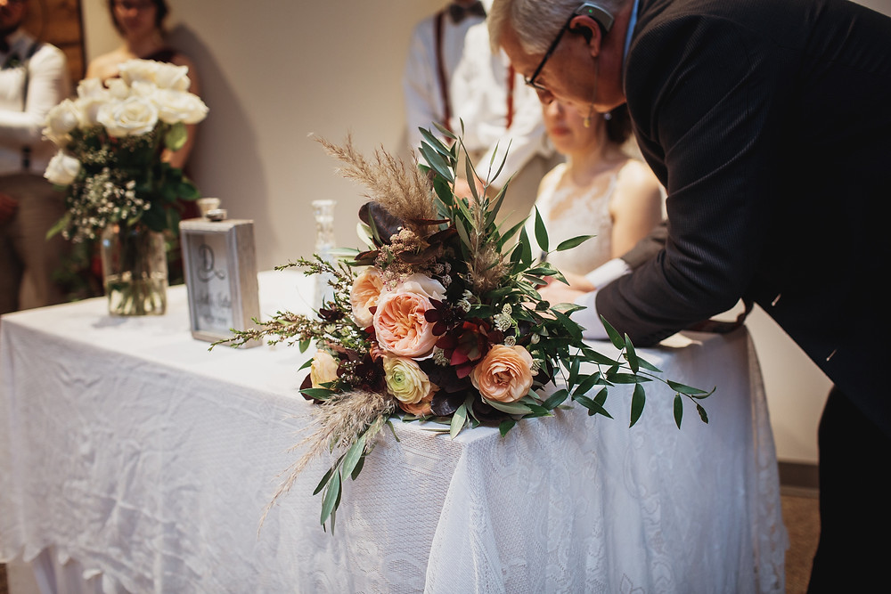 Wedding ceremony signing.