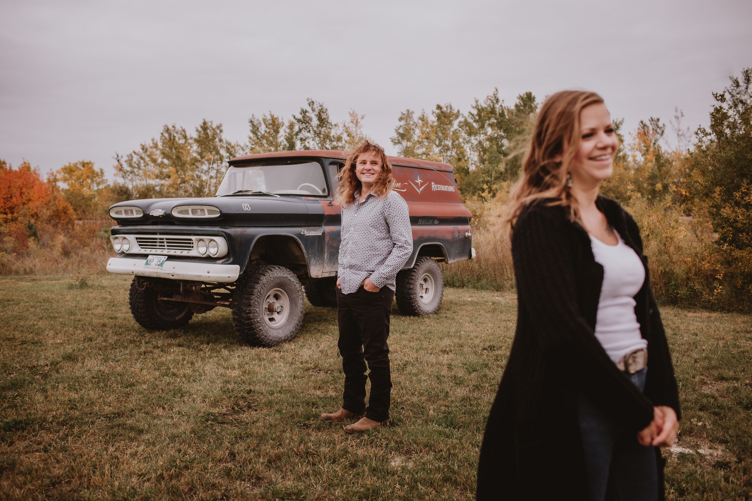 Fall engagement Photo session featuring vintage truck.