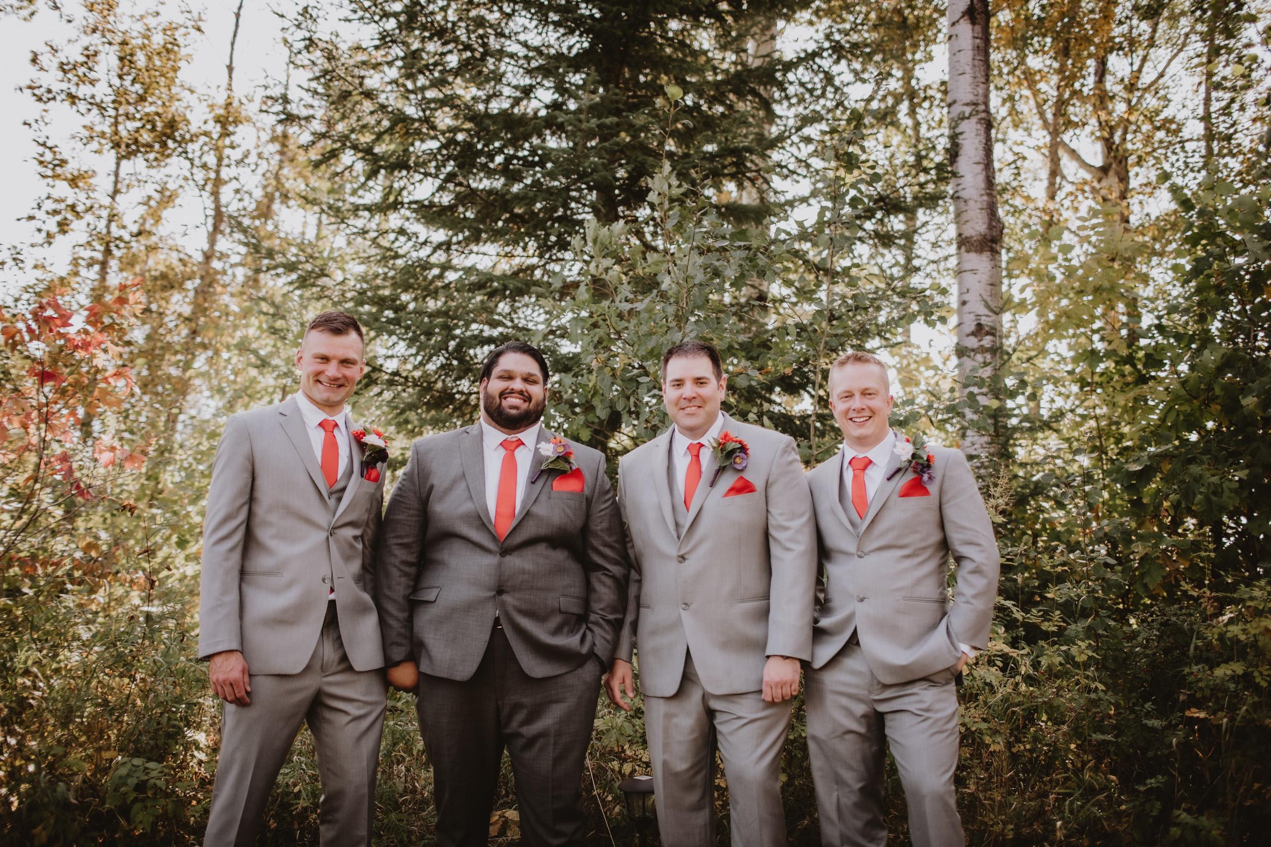 Groomsmen Portrait during fall wedding day.