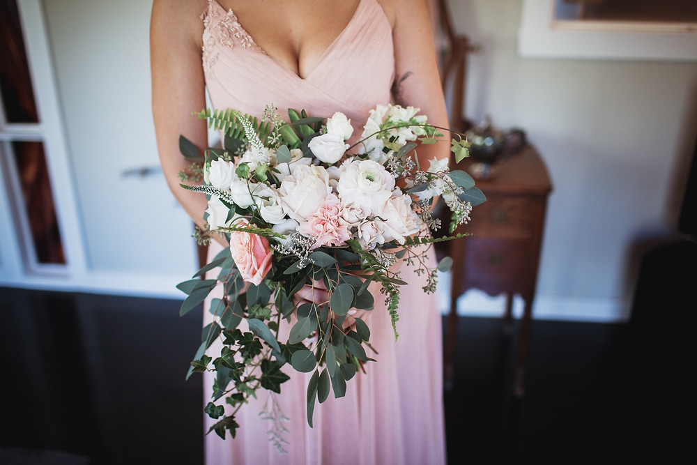 Blush bridal bouquet by Yellow Birch Floral.