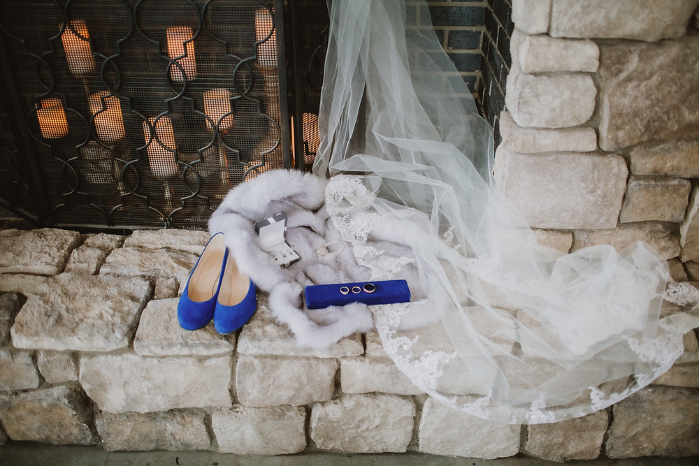 Blue and grey winter wedding details.