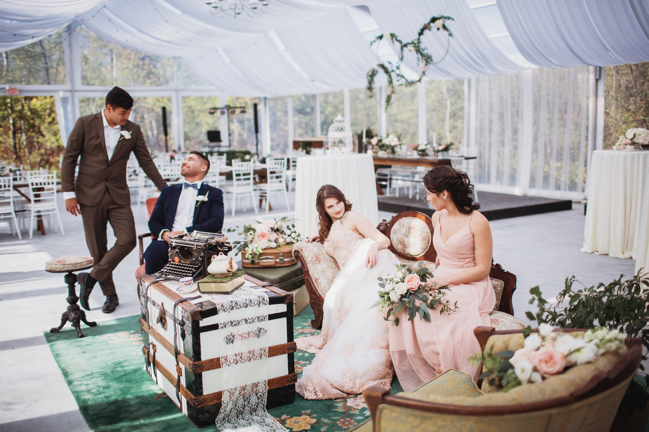 Bridal Party Lounges During Wedding Reception