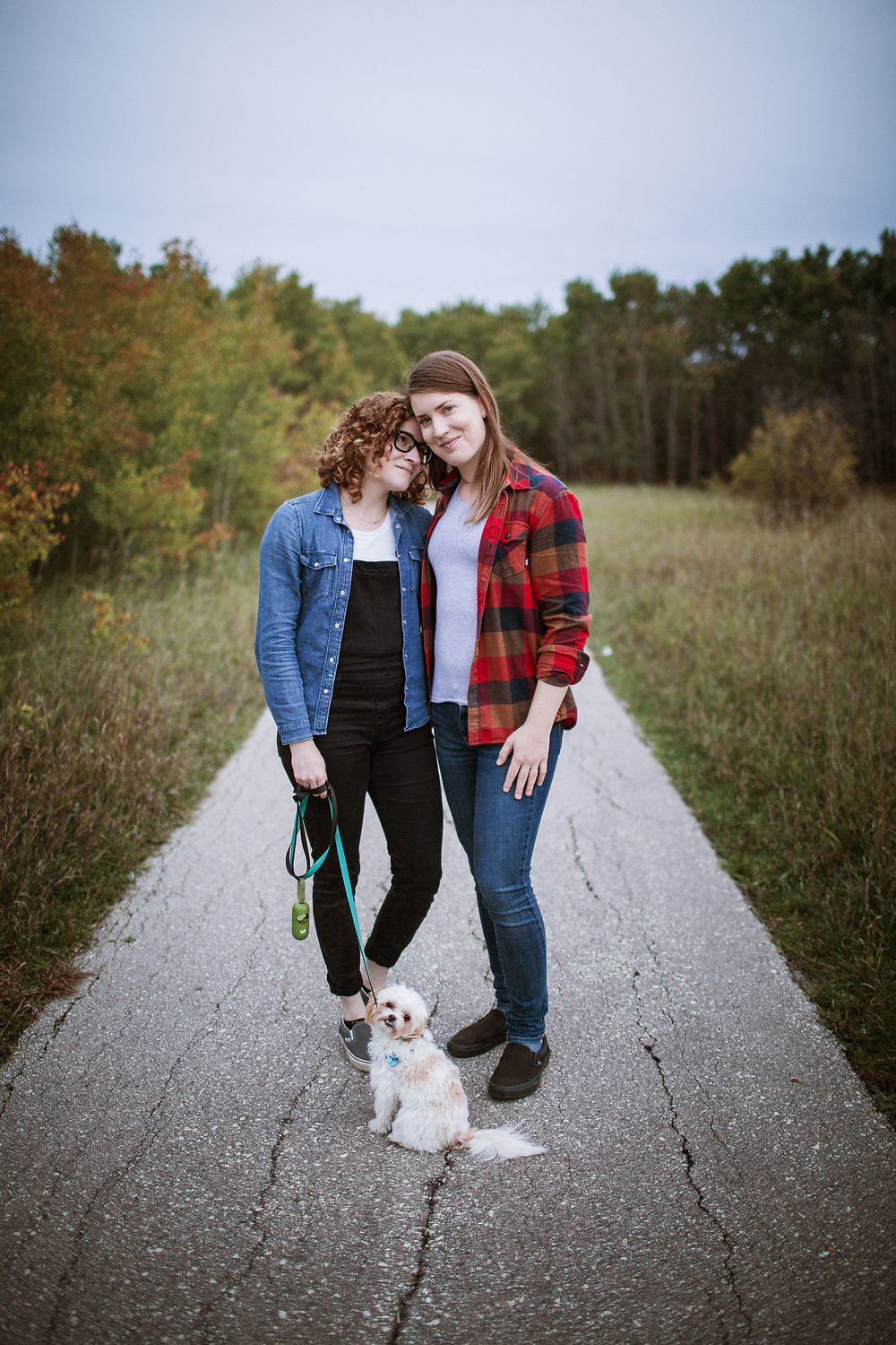 Dog-moms with their pup.