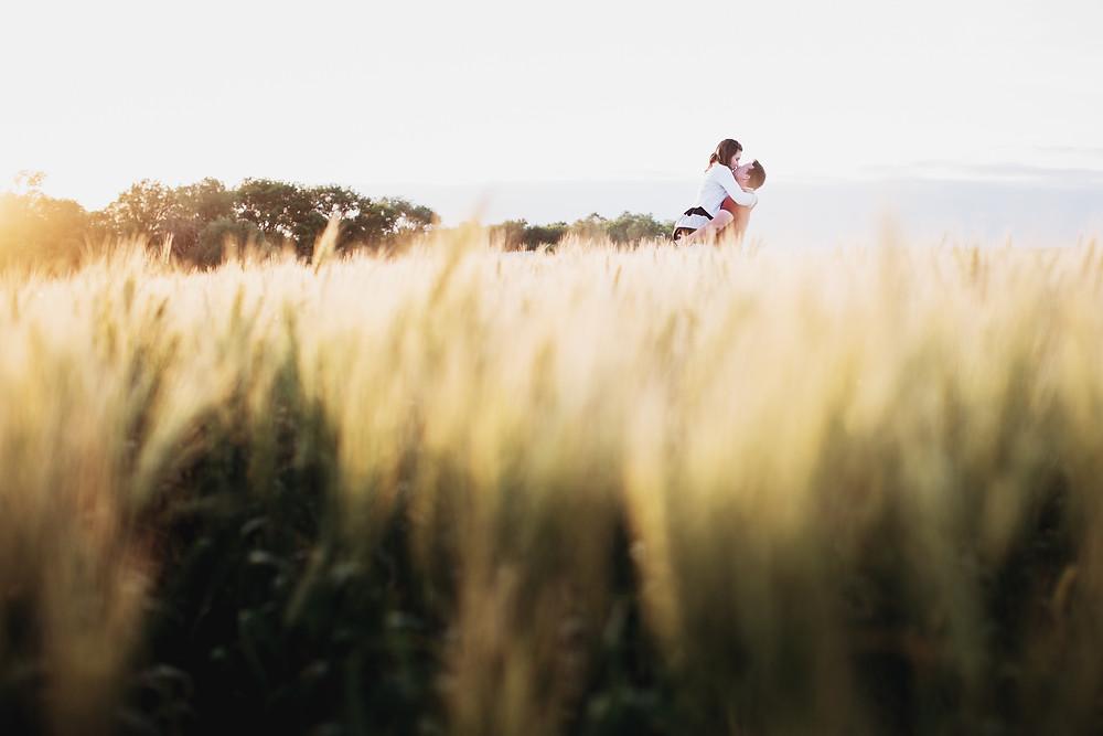 Sunset, farm engagement photos.