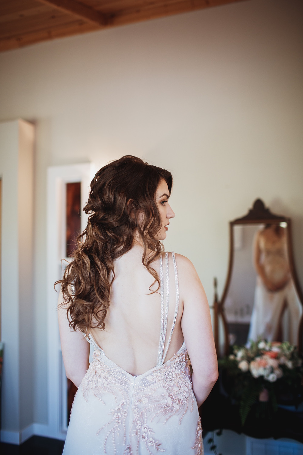 Stunning back of Anna Lang Bridal gown.