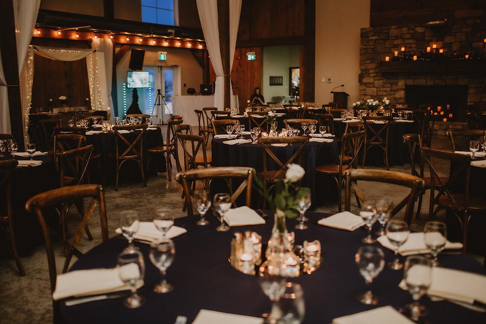 Winter wedding reception at Hawthorne Estates.