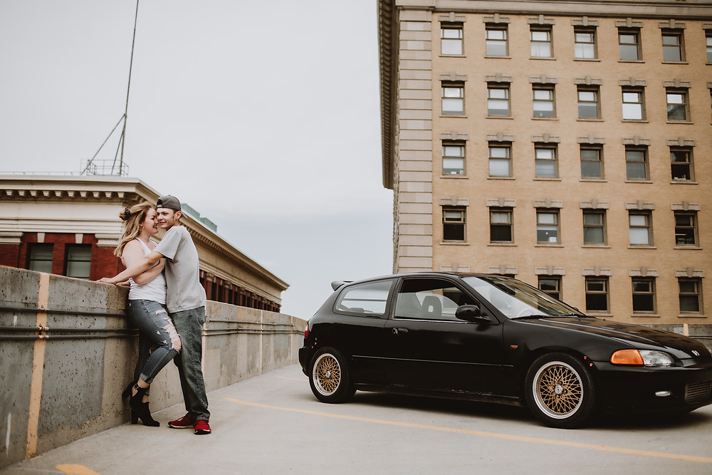 Rooftop photo session in downtown Winnipeg.