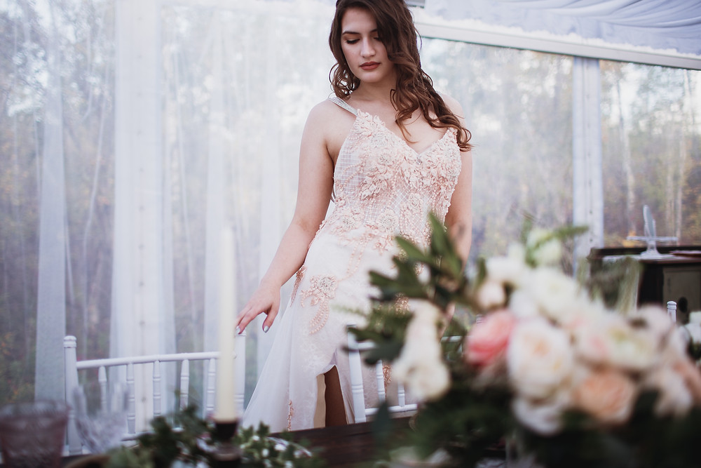 Stunning blush wedding gown by Anna Lang Bridal