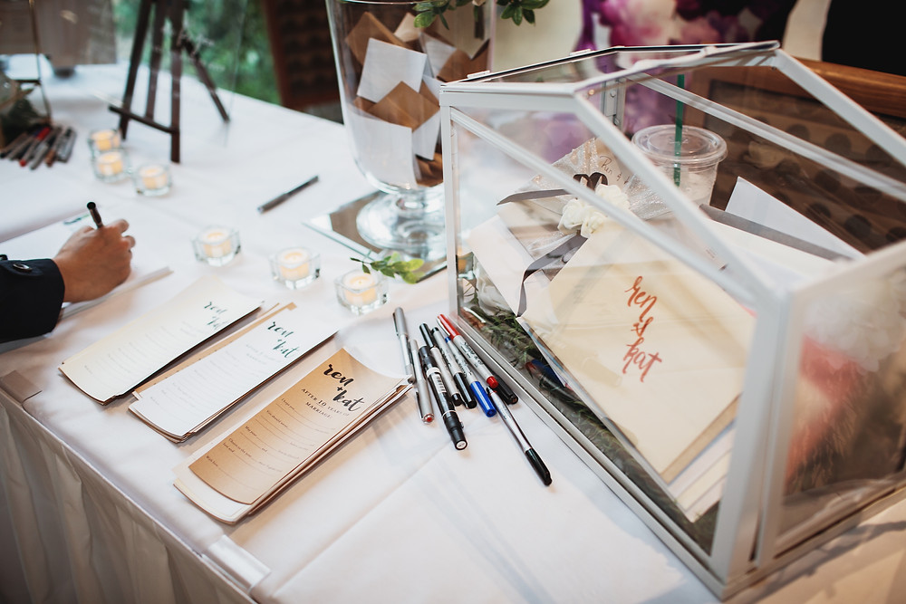 Guestbook table for winnipeg wedding.