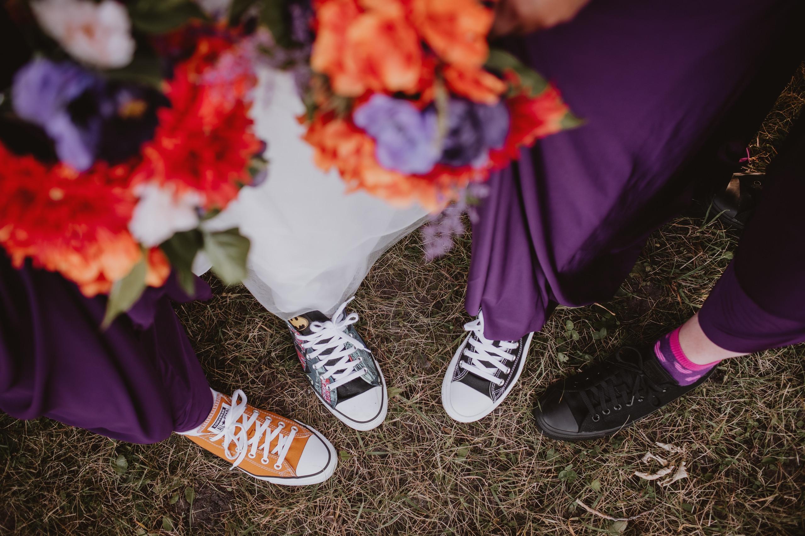 Bridesmaid Wear Converse for fall wedding day.