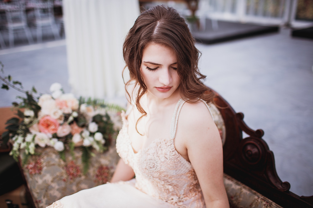 Bridal beauty shot, gown by Anna Lang Bridal, makeup by Ma Cherie Beauty.