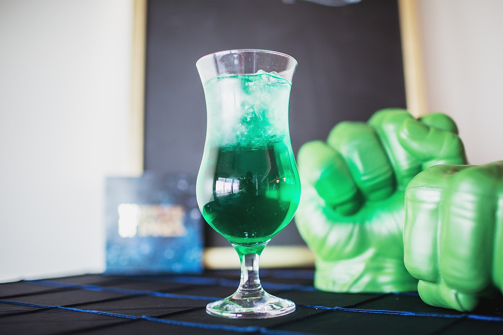 Hulk-themed cocktail created by On Tap Bartending for Marvel-themed wedding.