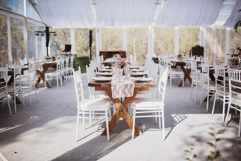 Banquet tables, wedding reception inspiration. Secret Garden wedding inspo.