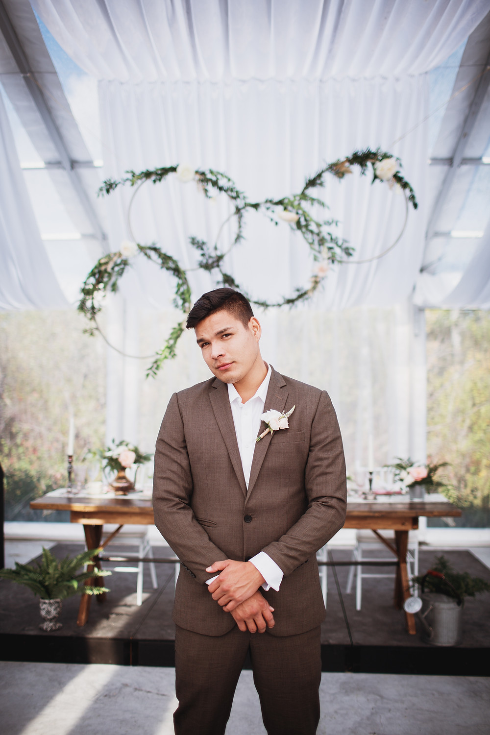 Groomsman in brown suit by Eph Apparel