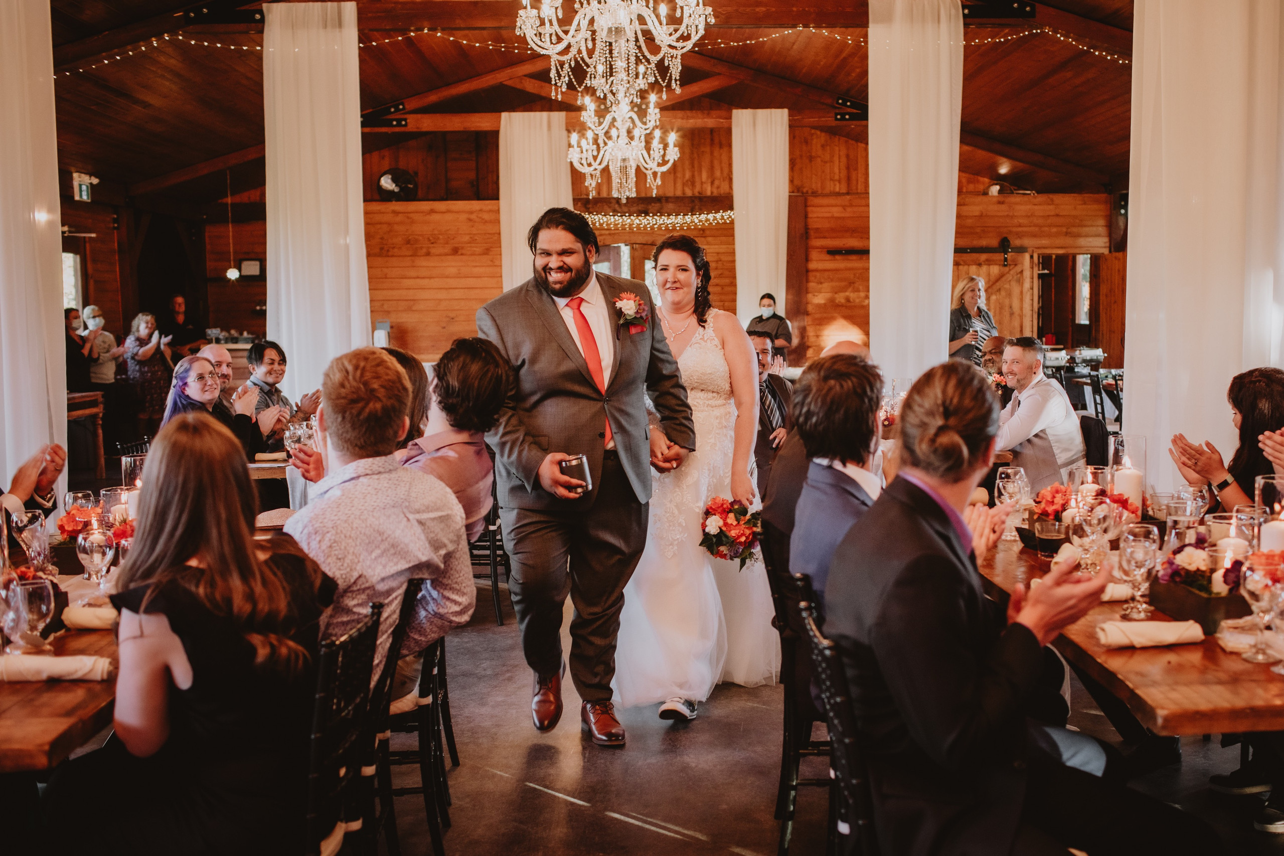 Wedding Couple Joins Reception during fall wedding in Manitoba.