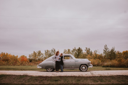 Manitoba Fall Engagement Photos featuring Vintage Cars