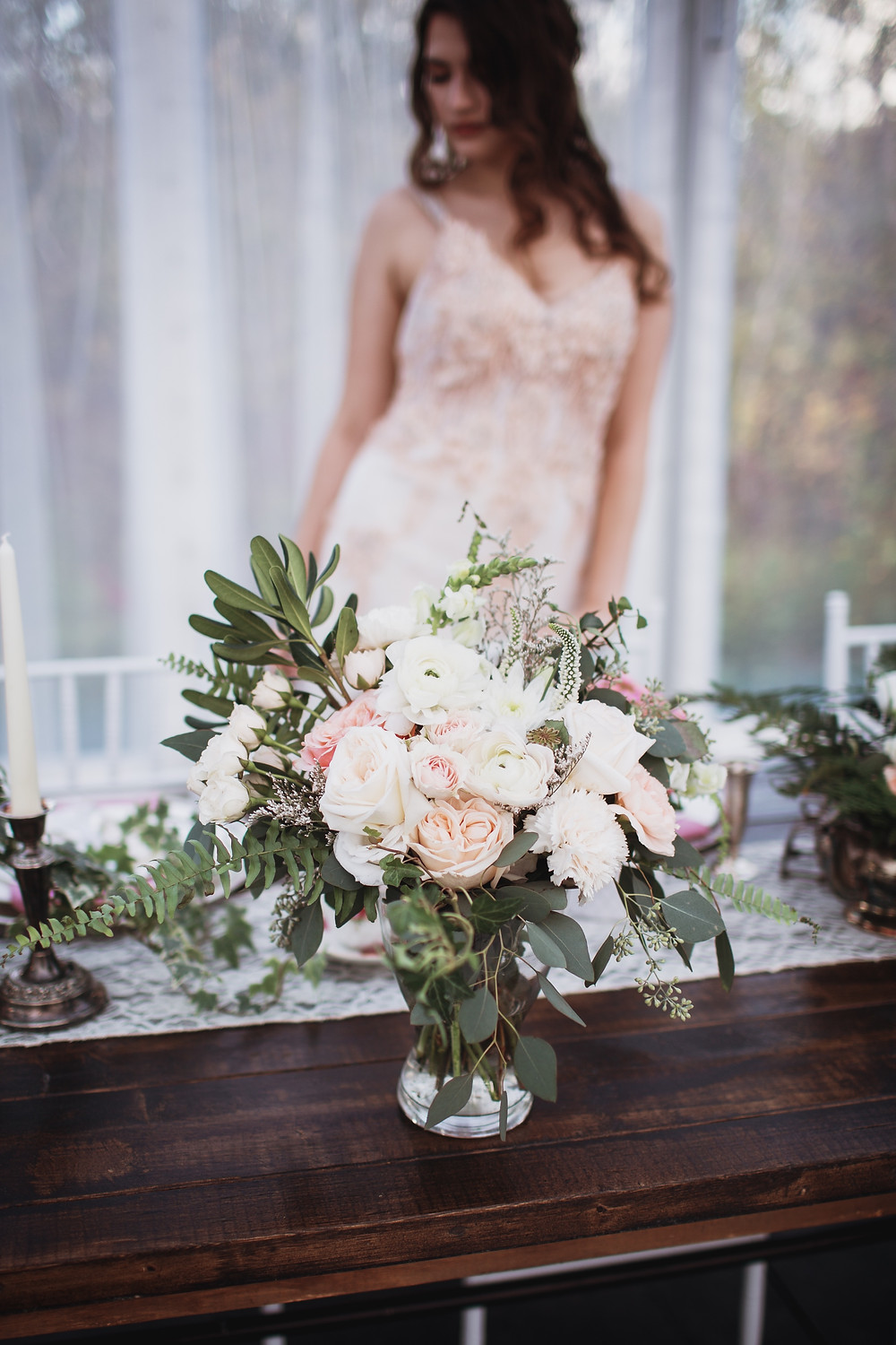 Fall bridal bouquet, in blush and white florals with hearty greens
