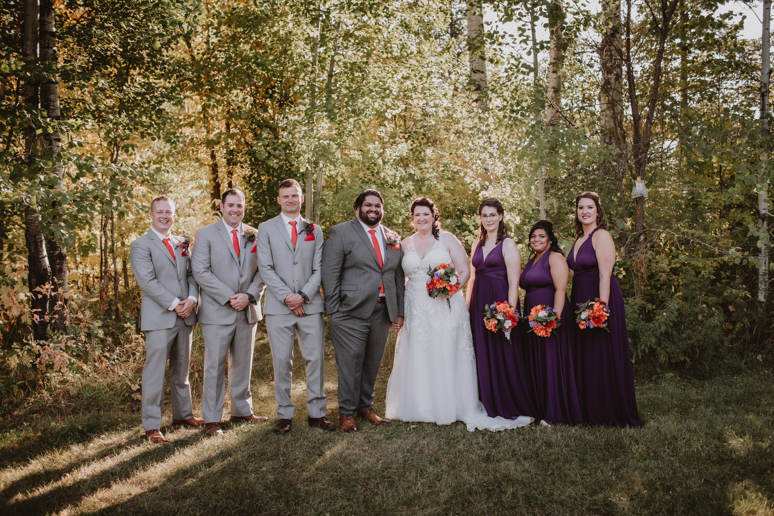 Bridal Party Portrait during fall wedding at Rivers Edge Resort.