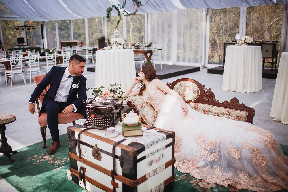 Clear tent wedding venue in Manitoba. Bridal gown by Anna Lang Bridal. Suit by Eph Apparel. Flowers by Yellowbirch florals. Rentals by On Tap Events, C&T Event Rentals, Bow and Arrow, and Belayre Rentals.