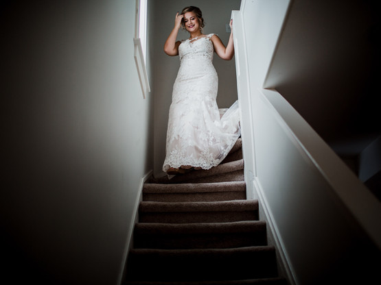 Bride Walks Down Stairs for First Look